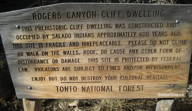 A sign found at the Indian ruins site in Roger's Canyon
